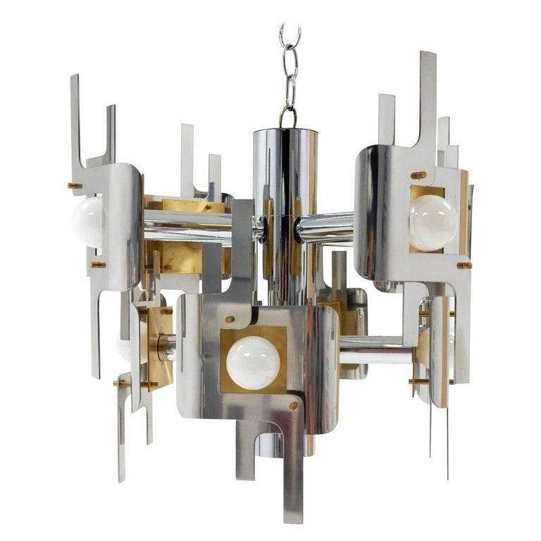 1970s Gaetano Sciolari Sculptura Chrome and Brass Chandelier Lamp For Sale