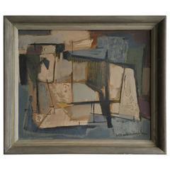 Mid-Century Modern Abstract Oil Painting, Edgar A. Batzell