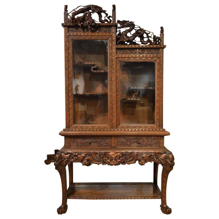 Carved Cabinet on Stand Japanese Meiji Period For Sale - Carved Cabinet On Stand Japanese Meiji Period At 1stdibs