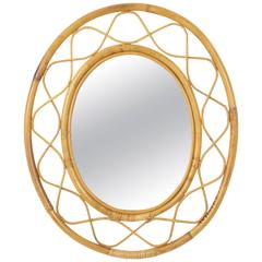 Jean Royère Style French Riviera Bamboo and Rattan Oval Mirror