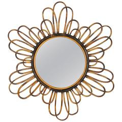 1960s French Riviera Flower Burst Bamboo Mirror with Pyrography Decoration