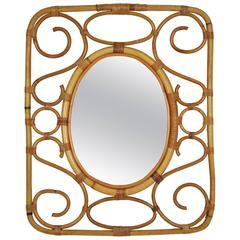Mid-Century Modern Spanish Bamboo and Rattan Rectangular Mirror