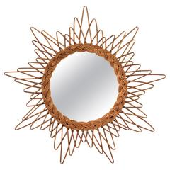 French 1960s Starburst Rattan or Wicker Mirror