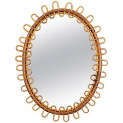 Jean Royère Style French Riviera, 1950s Rattan Mirror