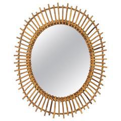 1960s Spanish Bamboo and Rattan Sunburst Oval Mirror