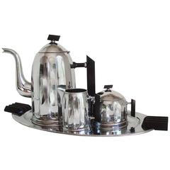 Iconic Belgian Art Deco Four-Piece Chrome & Black Bakelite Coffee Set, Demeyere