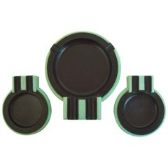 "British Art Deco Black Bakelite and Aqua Phenolic ""Queen Mary"" Ashtray Set"