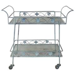 Russell Woodard Wrought Iron Drinks Cart with Removable Tray