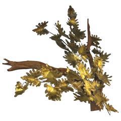 Curtis Jere Signed Maple Leaf on Driftwood Sculpture