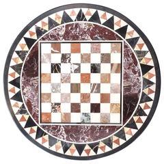 19th Century Italian Pietra Dura Specimen Marble Chess Board Tabletop