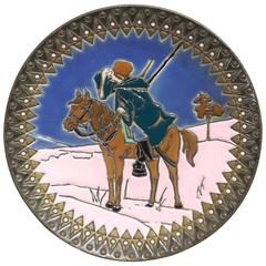 Lone Hunter, Enameled Wall Plate by Amphora