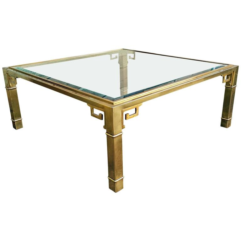 Large Mastercraft Square Brass Greek Key Coffee Table At