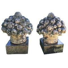 Magnificent Pair of Chateau-Sized Carved Stone Fruit and Flower Baskets