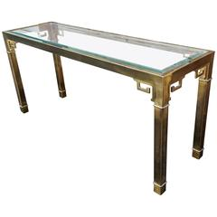 Long Mastercraft Brass and Glass Greek Key Console Table