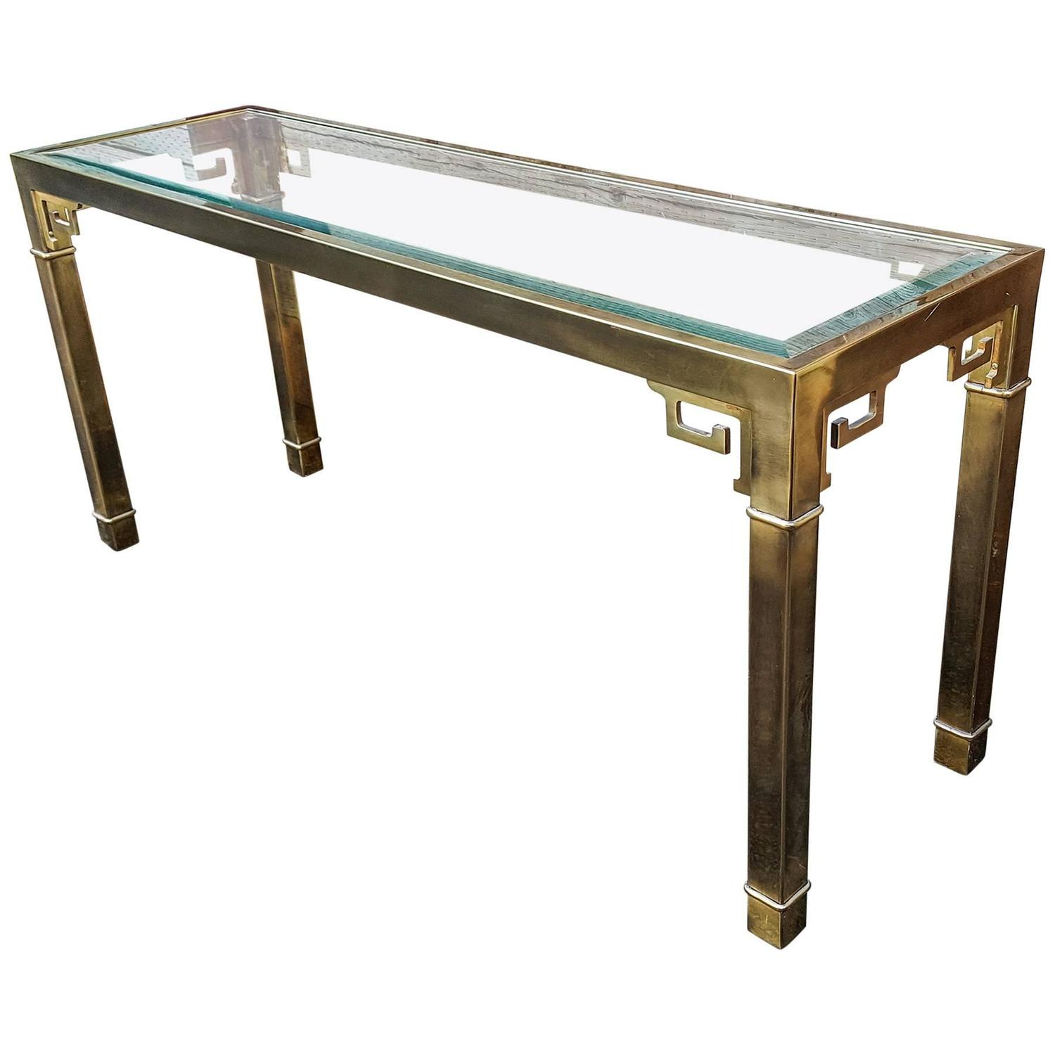 Long Mastercraft Brass and Glass Greek Key Console Table at 1stdibs