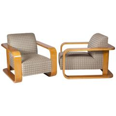 Pair of Pacquebot Style Upholstered Armchairs