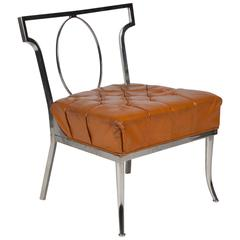 Chrome Frame Button Leather Chair by Billy Haines
