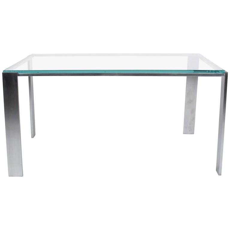 Chrome Frame Coffee Table With Offset Legs French 1970s At 1stdibs