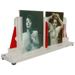 American Art Deco Red, White, Blue and Clear Geometric Double Picture Frame