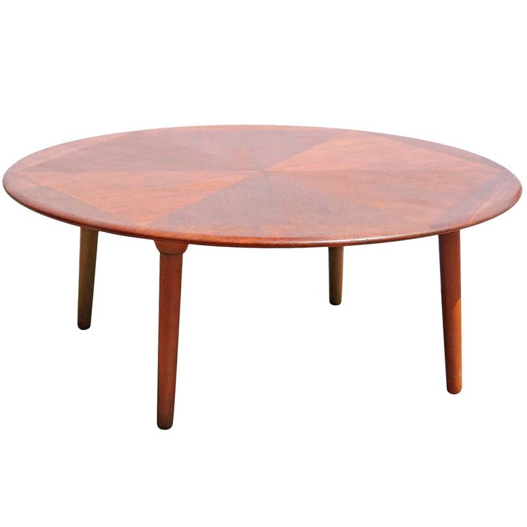 Teak Diamond Design Round Coffee Table by H. W. Klein for Bramin For ...