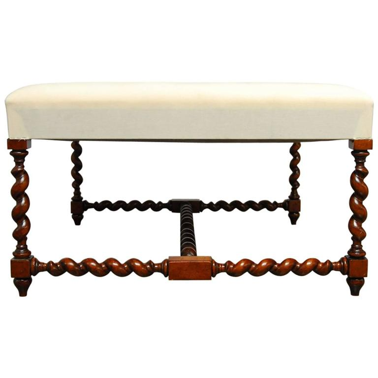 Louis Xiii Barley Twist Upholstered Ottoman Bench At 1stdibs