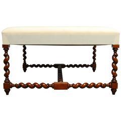 Louis XIII Barley Twist Upholstered Ottoman Bench