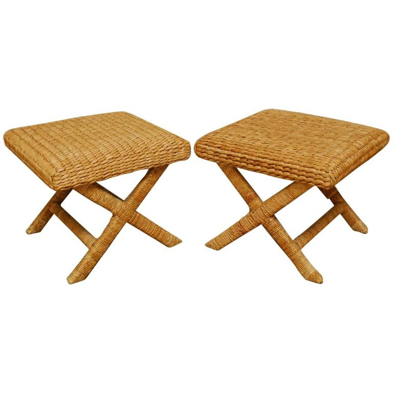 Pair Of Woven Seagrass X Base Benches Or Stools At 1stdibs