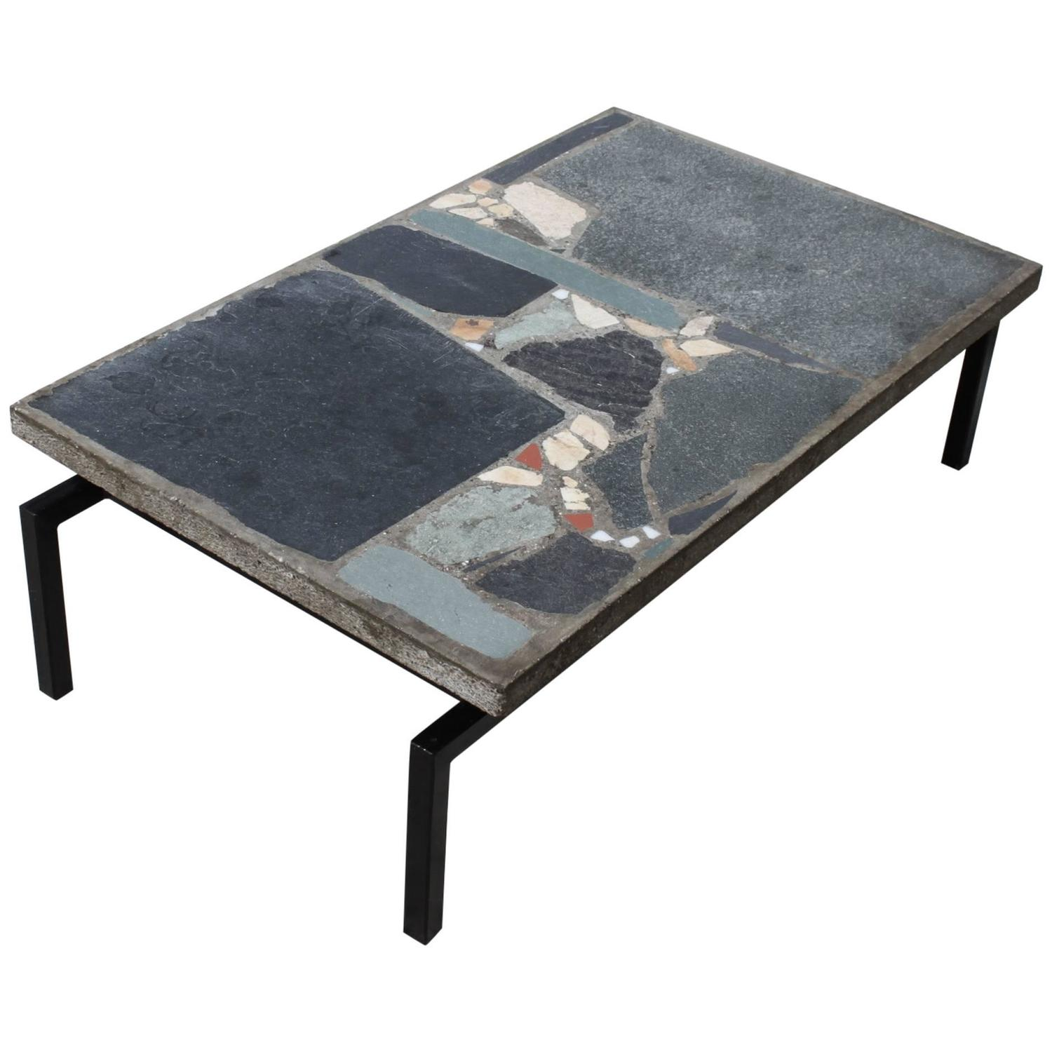 Brutalist Coffee Table by Paul Kingma with Mosaic Stones 1961 at