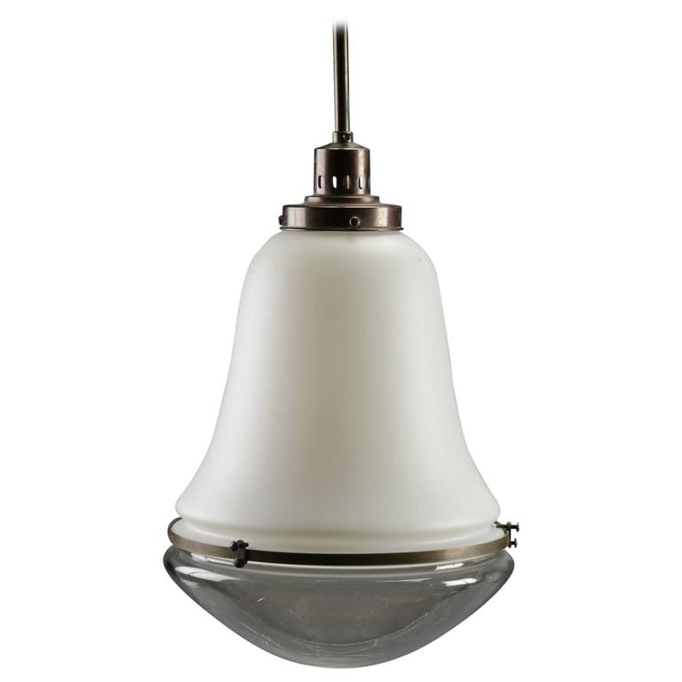 Bauhaus Opaline Glass Pendant Lamp in the Style of Peter Behrens For Sale