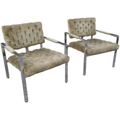 Milo Baughman Open Armed Lounge Chairs for Thayer Coggin