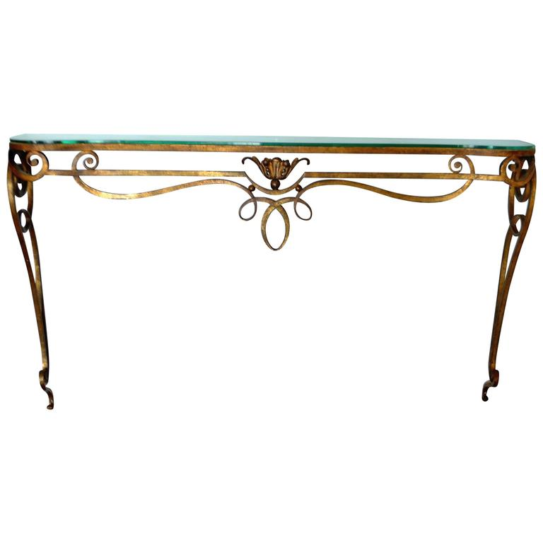 Wrought iron gilded console table with glass top at 1stdibs for Metal console tables glass top