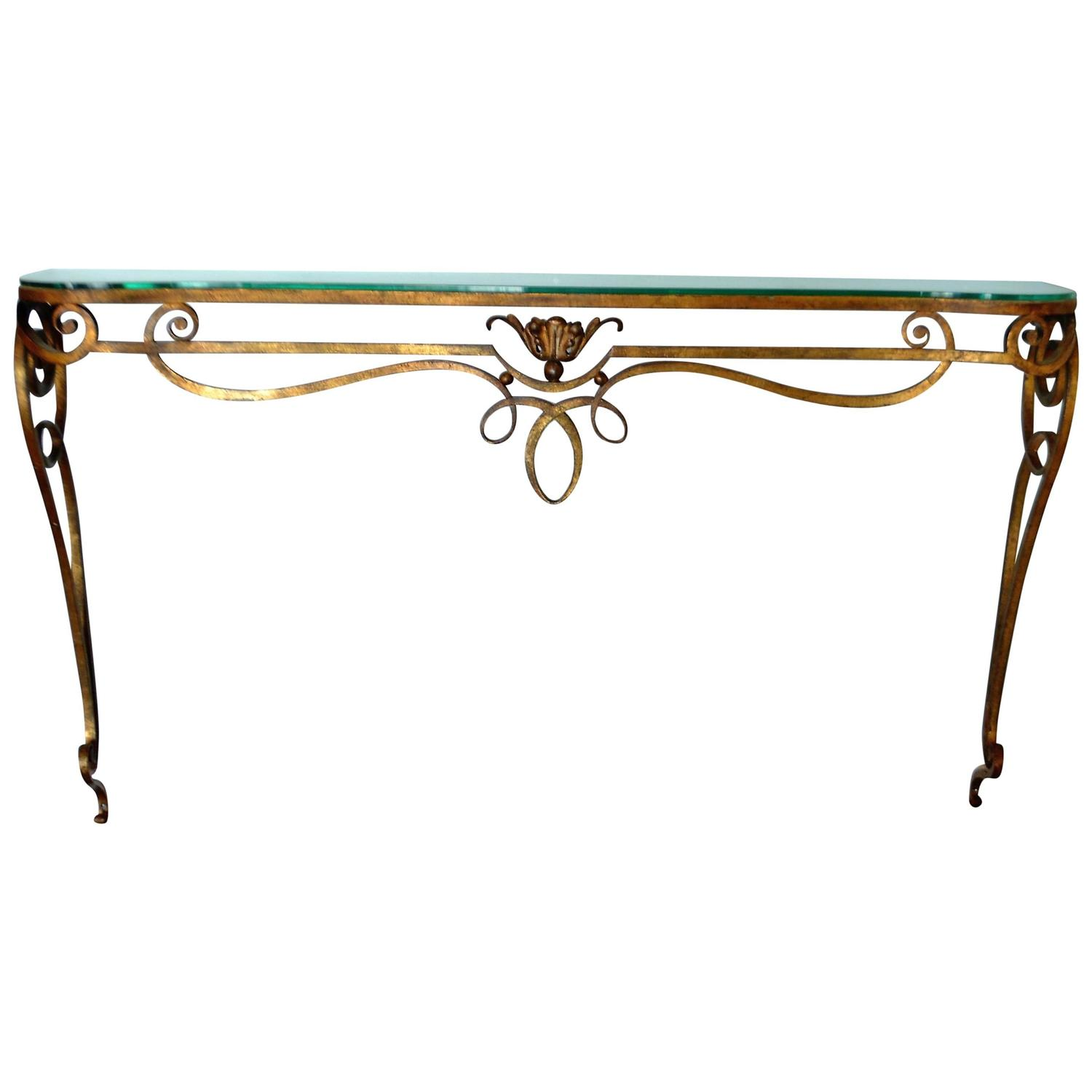 Wrought iron gilded console table with glass top for sale for Wrought iron sofa table base