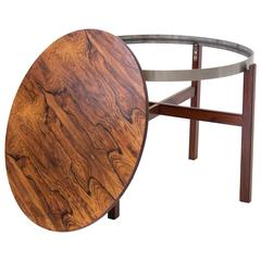 Round Rosewood Side Tray Table