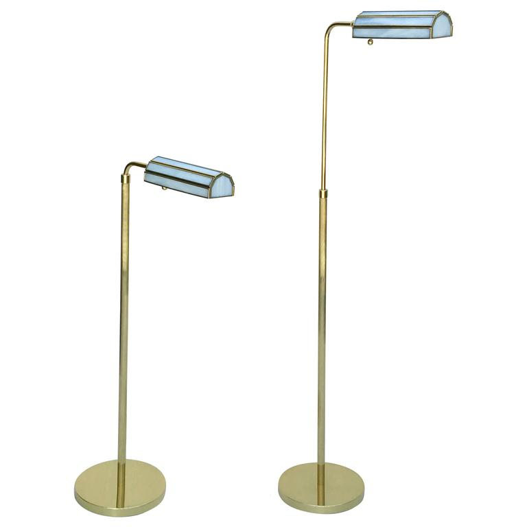 Pair of 1970s Adjustable Brass Floor Lamps 1