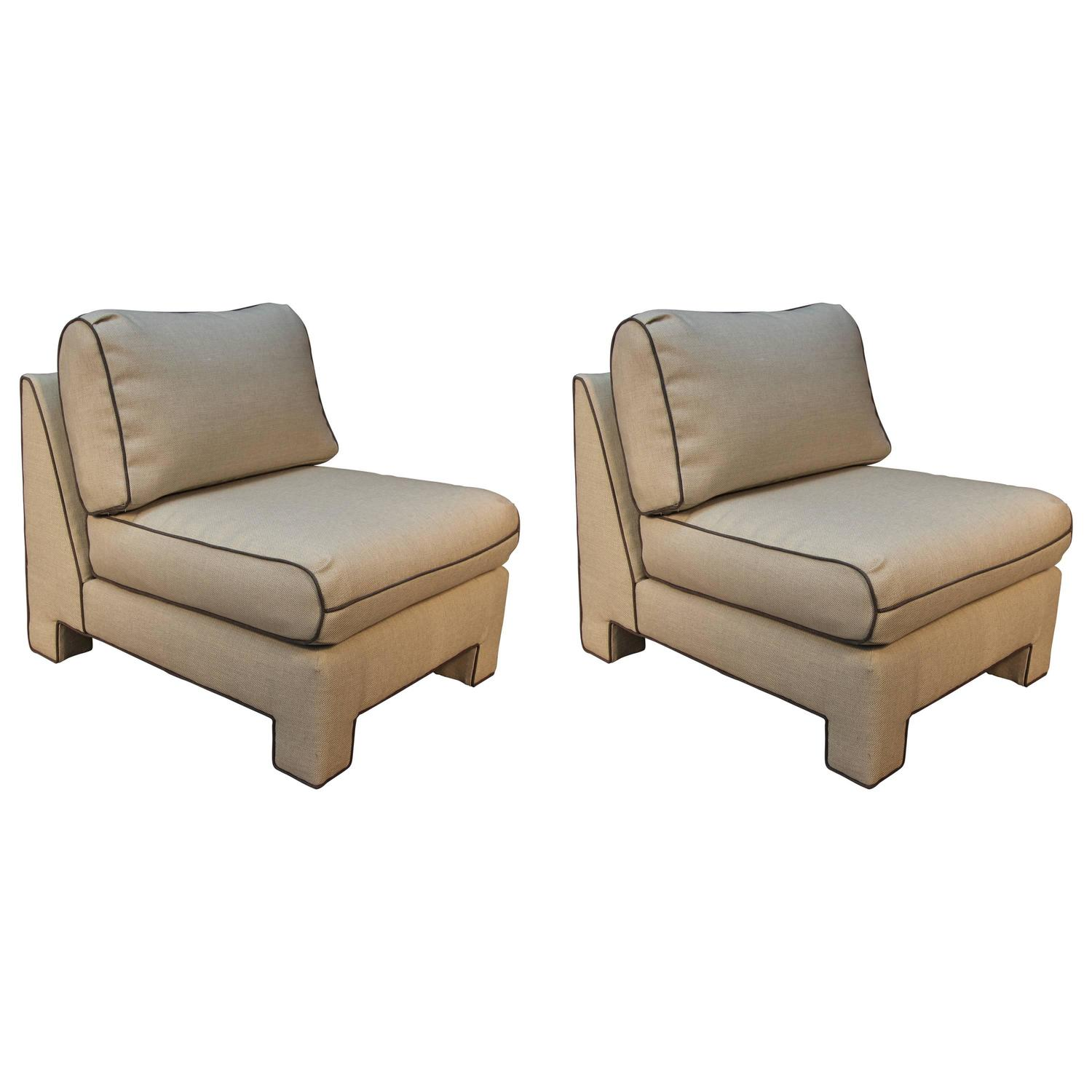 Pair of Upholstered Billy Baldwin Slipper Chairs For Sale