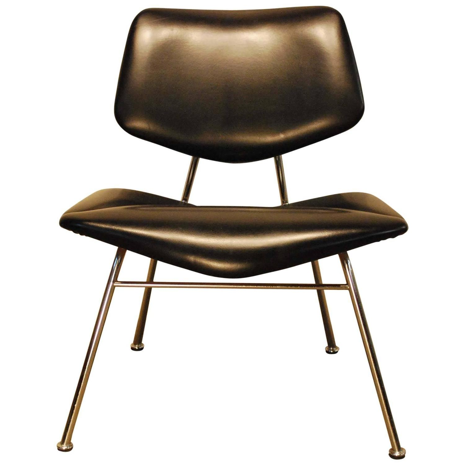Mid century modern leather chrome designer chair at 1stdibs for Mid century modern leather chairs