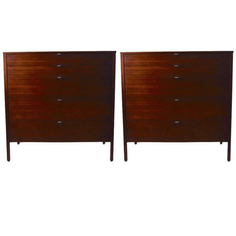 Pair of Rosewood Florence Knoll Dressers