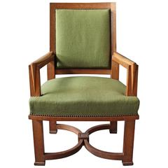 Fine French Art Deco Oak Armchair by Arbus