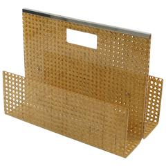 1970s Lucite and Rattan Magazine Rack Holder by Christian Dior Home Collection
