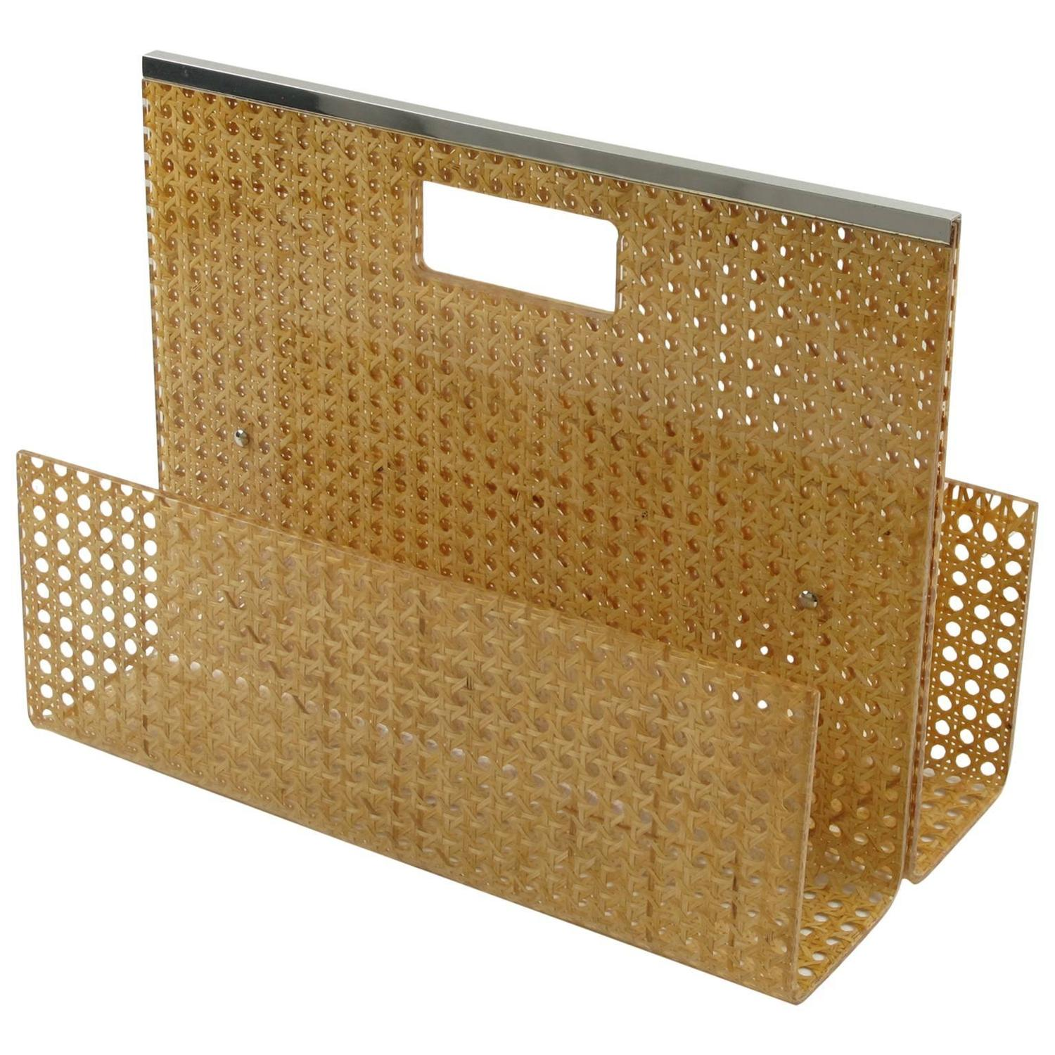 1970s Lucite And Rattan Magazine Rack Holder By Christian Dior Home  Collection For Sale At 1stdibs