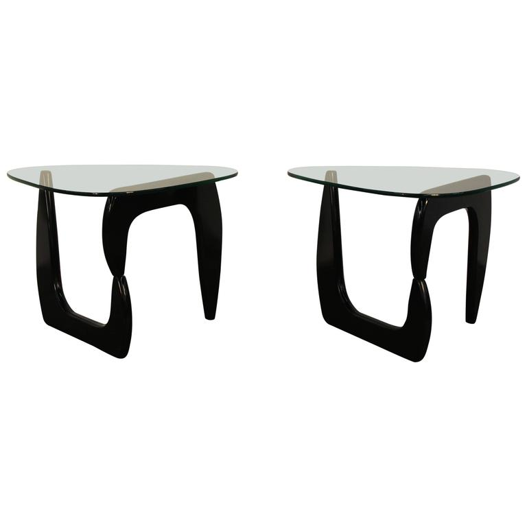 Pair Of Noguchi Style Lacquered Side Tables 1
