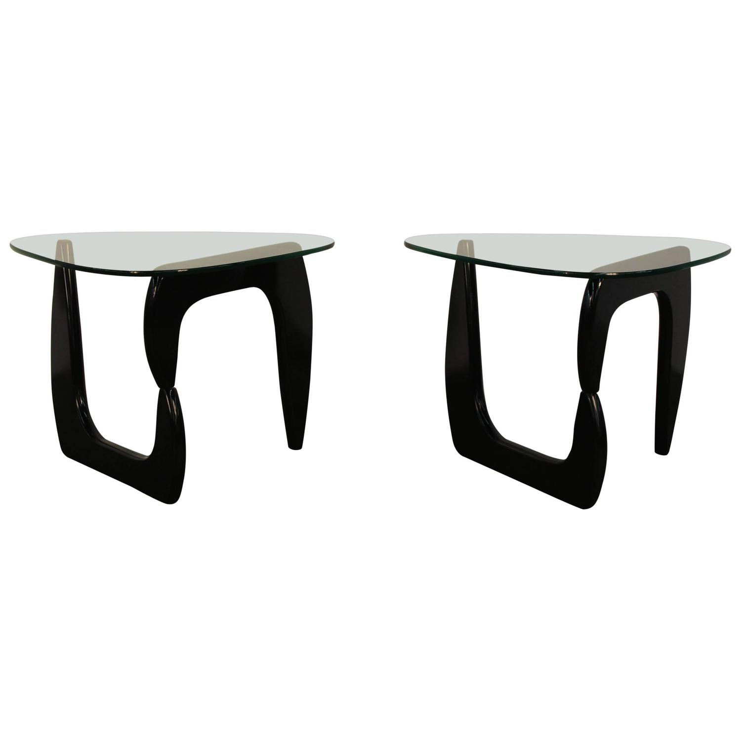 Pair of Noguchi Style Lacquered Side Tables at 1stdibs