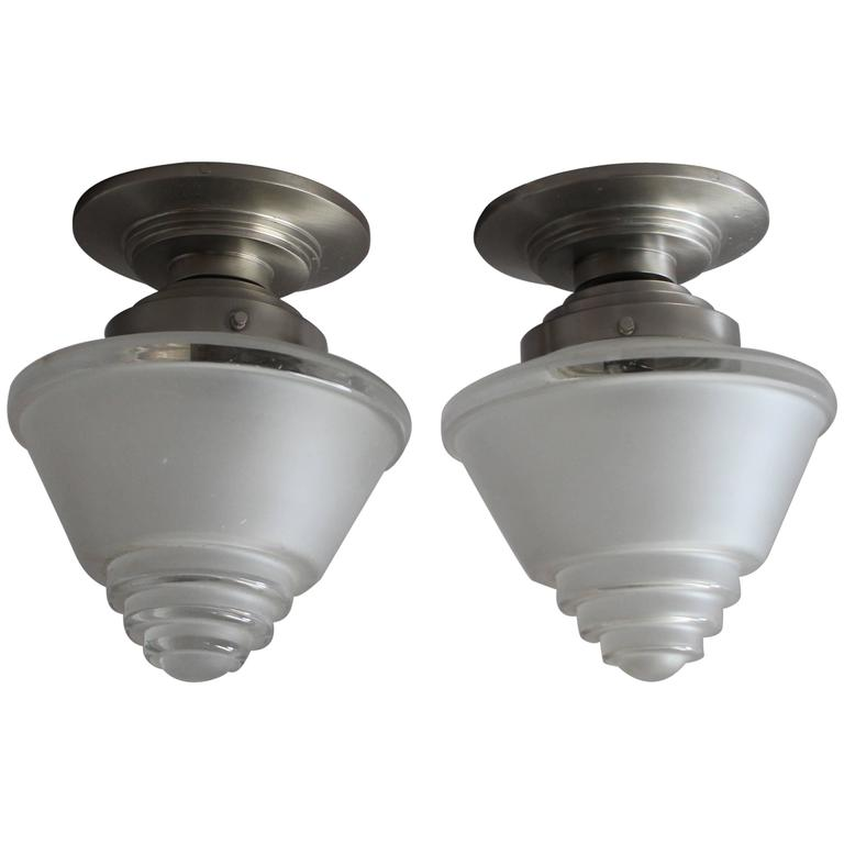 2 French Art Deco Frosted Glass and Chrome Flush Mounts