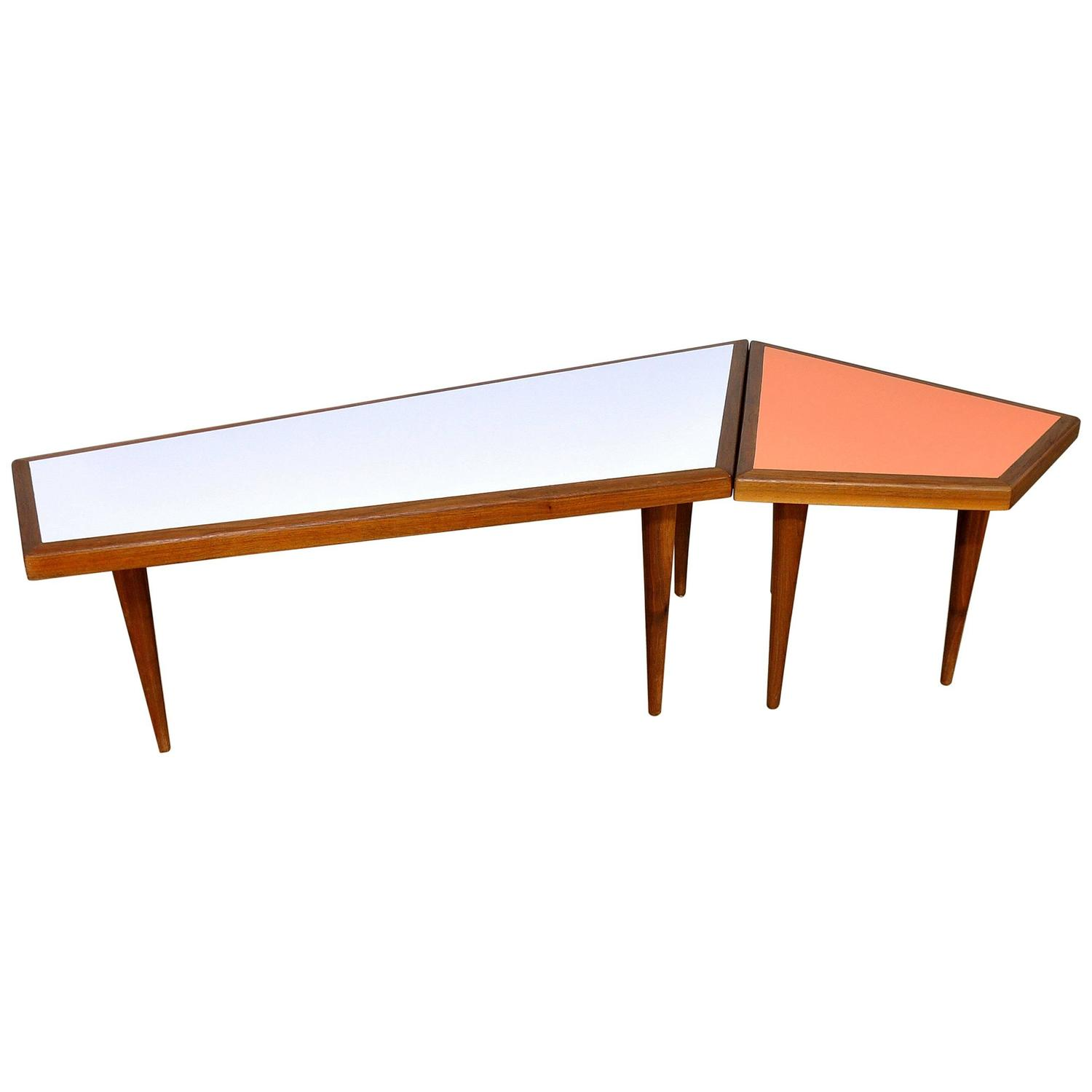 Mid century danish modern geometric coffee and side table for Side coffee table set