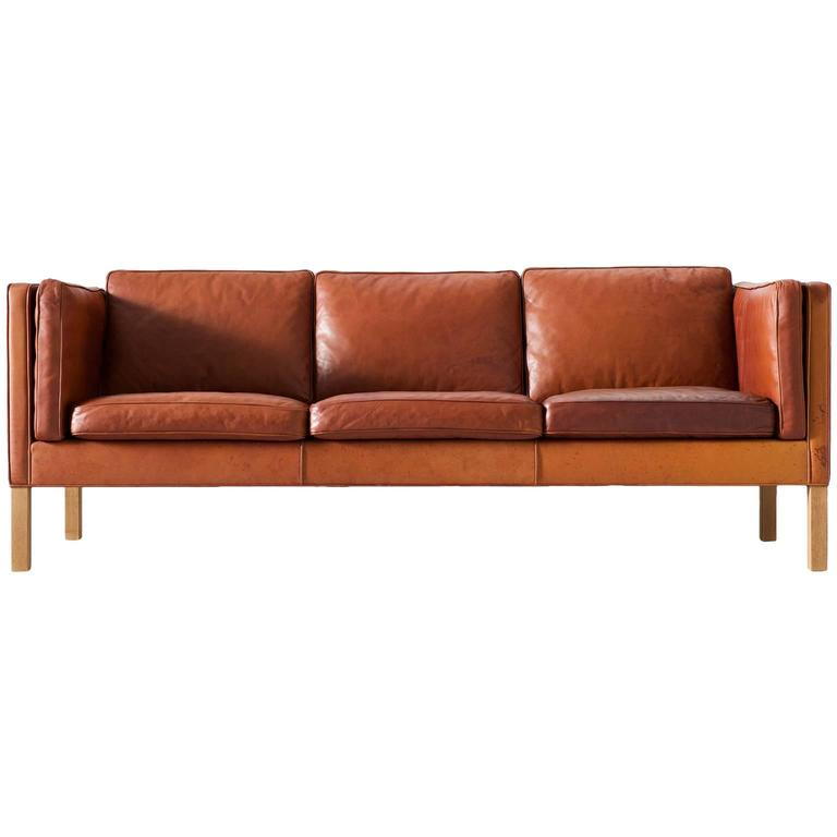 Bistro Cognac Brown Chair: Børge Mogensen 2443 Sofa In Cognac Brown Leather For Sale