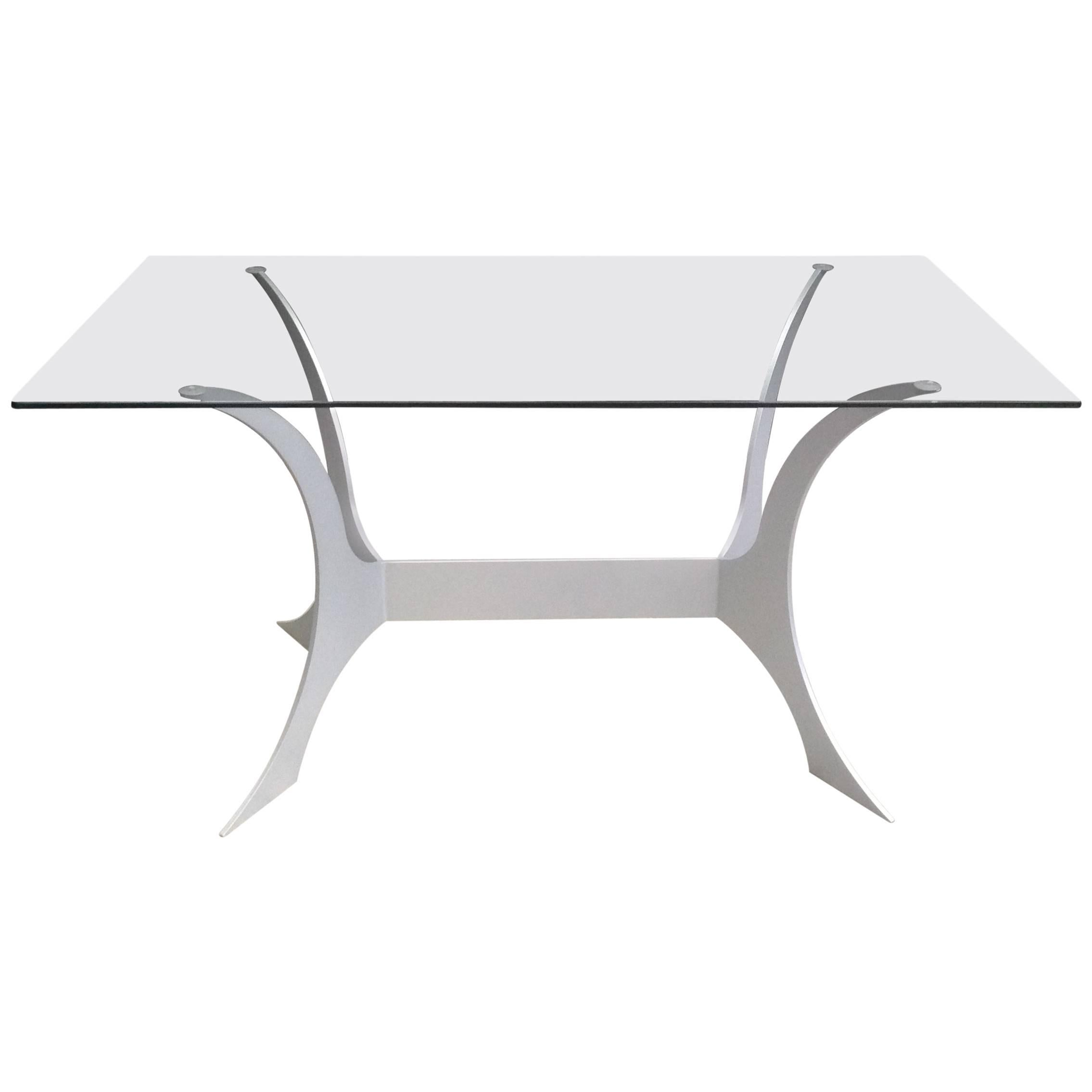 Grey Table in Wrought Iron, Glass Top, Patio Table, Patio Set, Outdoor Furniture