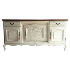Antique Style Sideboard Credenza French Painted Chic Oak Carved Large