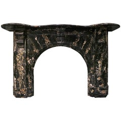 Antique Portoro Marble Arched Irish Fireplace Mantel