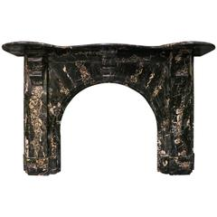 Victorian Portoro Marble Arched Antique Fireplace Mantel For Sale At