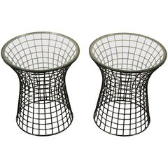 Pair of Platner Style Lacquered Iron End Tables